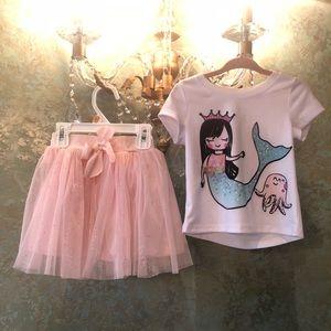 Mermaid Sparkle Top & Pink Tulle diamond skirt set